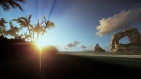 Tropisch eiland met vrouw het lopen op het strand, ochtendmist, het filteren vector illustratie