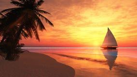 Tropisch eiland met zeilboot Stock Afbeeldingen