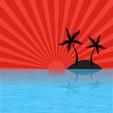 Tropisch eiland met zonuitbarsting Stock Afbeelding