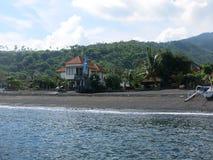 Tropisch eiland, overzees, hemel, palm, zon stock foto