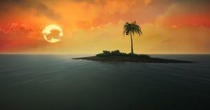 Tropisch eiland tegen de het plaatsen zon vector illustratie