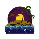 Tropisch eilandstrand bij nacht stock illustratie