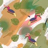 Tropisch exotisch veelkleurig patroon met birdsand tropische installaties royalty-vrije illustratie
