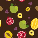 Tropisch exotisch vruchten naadloos patroon Leuke verse organische vruchten achtergrond Vectorillustratie van watermeloen, kers,  royalty-vrije illustratie