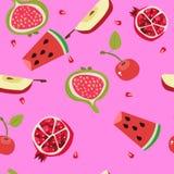 Tropisch exotisch vruchten naadloos patroon Leuke verse organische vruchten achtergrond Vectorillustratie van watermeloen, kers,  vector illustratie