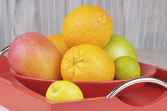 Tropisch fruit in een kom Stock Fotografie
