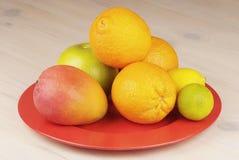 Tropisch fruit in een plaat Stock Foto's