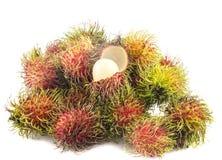 Tropisch fruit, rambutan op witte achtergrond Royalty-vrije Stock Afbeelding
