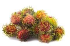 Tropisch fruit, rambutan op witte achtergrond Royalty-vrije Stock Foto's