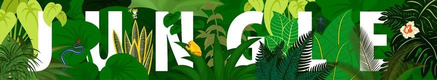 Tropisch Gebladerte Bloemen achtergrond De vectorbanner van het wildernisregenwoud royalty-vrije illustratie