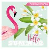 Tropisch Grafisch Ontwerp - Flamingo en Tropische Bloemen Royalty-vrije Stock Foto's