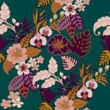 Tropisch Installaties Naadloos Patroon, Tropische Jungel-Bladeren, Wijnstokken en Bloemen op Quetzal Groen Herhaald Patroon Backr stock illustratie
