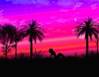 Tropisch landschap met schaduwmeisje Royalty-vrije Stock Afbeelding