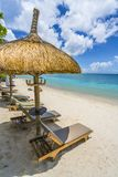 Tropisch landschap met verbazende stranden van het eiland van Mauritius royalty-vrije stock foto