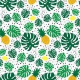Tropisch in naadloos patroon met ananassen, citroenen en groene palmbladen op witte achtergrond royalty-vrije illustratie