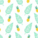 Tropisch in naadloos patroon met ananassen en munt groene palmbladen op witte achtergrond stock illustratie