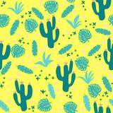 Tropisch naadloos patroon met bladeren en cactussen stock afbeeldingen
