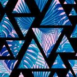 Tropisch naadloos patroon met exotische palmbladen royalty-vrije illustratie