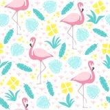 Tropisch naadloos patroon met flamingo en exotische bladeren royalty-vrije stock foto's