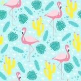 Tropisch naadloos patroon met flamingo en exotische bladeren stock afbeelding