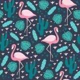 Tropisch naadloos patroon met flamingo en exotische bladeren royalty-vrije stock foto