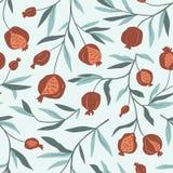 Tropisch naadloos patroon met granaatappelbomen De achtergrond van het fruit Vector heldere druk voor stof of behang royalty-vrije illustratie