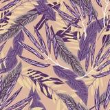 Tropisch naadloos patroon met heldere bladeren op beige achtergrond Vector ontwerp Wildernisdruk Druk en textiel royalty-vrije illustratie