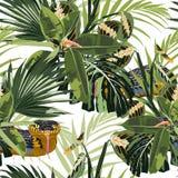 Tropisch naadloos patroon met heldergroene bladeren en gele slang op witte achtergrond royalty-vrije illustratie