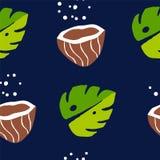 Tropisch naadloos patroon met palmbladen en kokosnoten op donkere achtergrond Ornament voor textiel en het verpakken vector illustratie