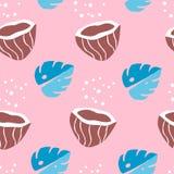 Tropisch naadloos patroon met palmbladen en kokosnoten op roze achtergrond Ornament voor textiel en het verpakken Vector stock illustratie