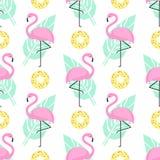 Tropisch in naadloos patroon met roze flamingo's, donuts en groene palmbladen op witte achtergrond stock illustratie