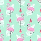 Tropisch in naadloos patroon met roze flamingo's, watermeloen en palmbladen op munt groene achtergrond vector illustratie