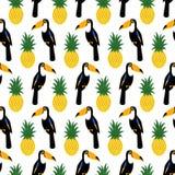 Tropisch naadloos patroon met toekannen en ananassen royalty-vrije illustratie
