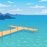 Tropisch oceaanlandschap met houten dok Stock Fotografie