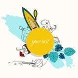 Tropisch ontwerp voor banner of vlieger met palmbladen, bloemen, boot, en het mariene leven Stock Afbeeldingen