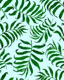 Tropisch palmbladen naadloos patroon royalty-vrije illustratie