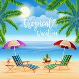 Tropisch paradijs Exotisch eiland met palmen Stock Afbeelding