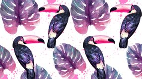 Tropisch paradijs met van waterverfpapegaaien en palmbladen achtergrondvector Ultraviolette in kleuren royalty-vrije illustratie
