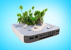Tropisch paradijseiland met zand, palmen, bureaustoelen en jacht op TV-doos vector illustratie