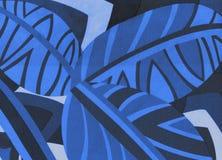 Tropisch patroon, bladeren naadloze blauwe achtergrond stock afbeelding