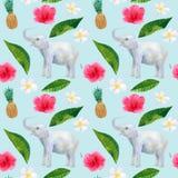 Tropisch patroon met mooie rozerode bloemenhibiscus en witte frangipani of plumeria en ananas en olifant royalty-vrije illustratie