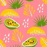 Tropisch patroon met papaja en abstracte elementen op roze achtergrond Ornament voor textiel en het verpakken royalty-vrije illustratie