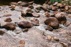 Tropisch rivier stromend snel water en rotsenlandschap Royalty-vrije Stock Afbeeldingen