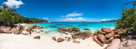 Tropisch strand Anse Lazio, Praslin-eiland, Seychellen Stock Foto's
