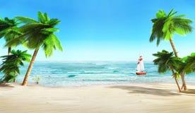 Tropisch strand en jacht. stock illustratie