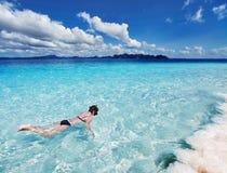 Tropisch strand, het snorkelen royalty-vrije stock afbeelding