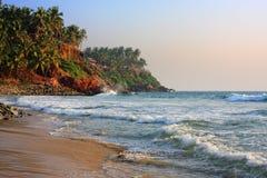 Tropisch strand, India Kerala Royalty-vrije Stock Afbeeldingen