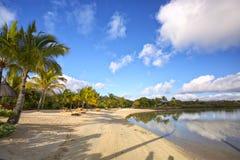 Tropisch strand in Mauritius stock foto's