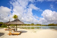Tropisch strand in Mauritius royalty-vrije stock afbeelding