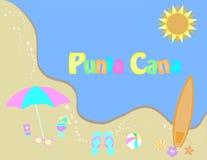 Tropisch strand met palm De zomerbanner, tropisch strandontwerp royalty-vrije illustratie